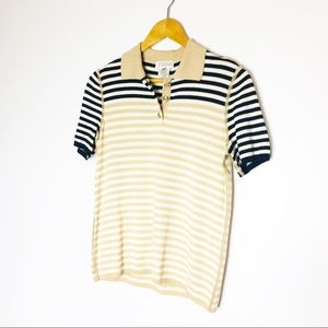 ST. JOHN Sport Knit Wool blend Pull Over Polo Top